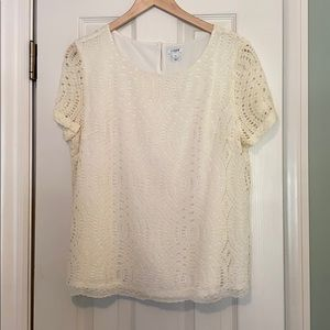 J Crew off-white lace short-sleeved top
